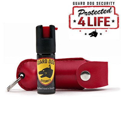 Red Personal Defense Pepper Spray OC-18 1/2 oz - Leather Case