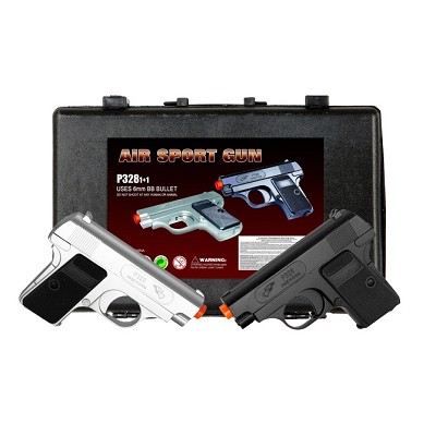 Silver and Black Dueling Set Airsoft Pistol Handguns Gun With Case