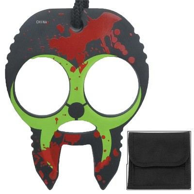 Zombie Clobbering Skull 2 Finger Self Defense Knuckles Black