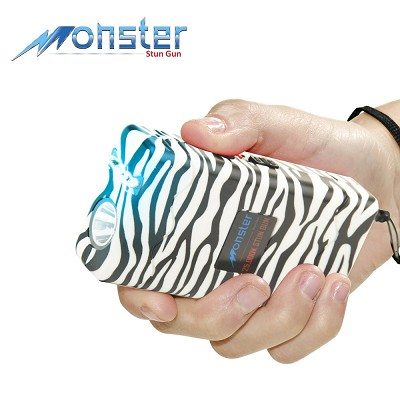 25 Million Volt Rechargeable Stun Gun W/ LED Light & Disable Pin Zebra Print