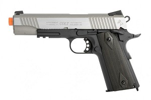 "Colt 1911 Full Metal ""Rail Gun"" CO2 Blowback Airsoft Pistol - Two Tone"
