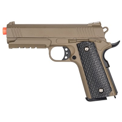 G25D Metal 1911 Airsoft Warrior Spring Pistol With Rail in DARK EARTH