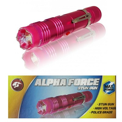 ALPHA FORCE Stun Gun 10 Million Volt Rechargeable LED Flashlight Pink