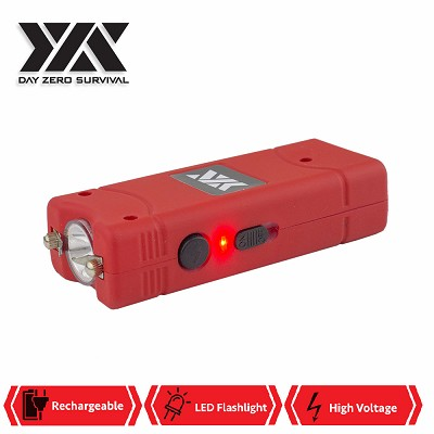 DZS Ultra Mini Red Stun Gun Rechargeable With LED Light, Holster and KeyRing
