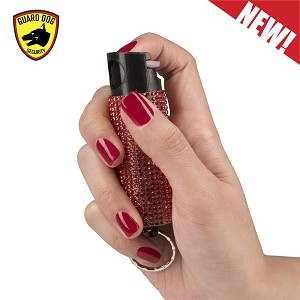 Bling It On Key Ring Self Defense Pepper Spray Red Jeweled Cary Case