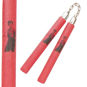 Nunchaku - Chained 12 Inch Red Foam Padded