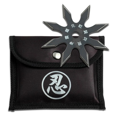 "Black Stainless Steel 8-Point Shuriken Anime Ninja Throwing Star - 4"" Diameter"