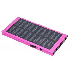 Pink Survival 3 In 1 Solar Rechargeable Stun Gun, Flashlight & Power Bank