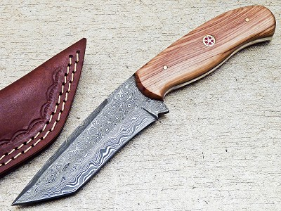 Damascus Steel Custom Handmade Hunting Skinning Tanto Knife 8.5