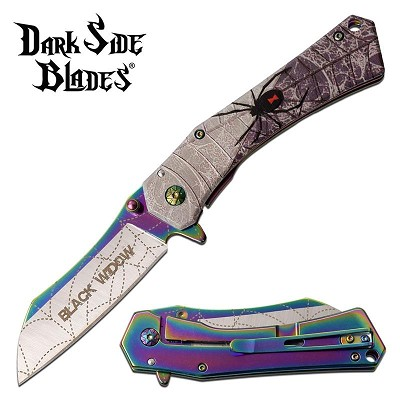 Black Widow Spider Spring Assisted Folding Pocket Knife Rainbow