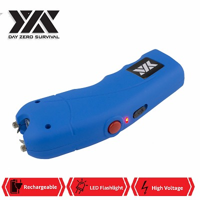 Blue DZS Rechargeable Self Defense Stun Gun With Holster