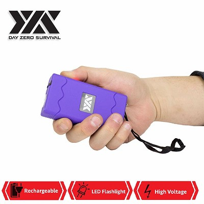 DZS Rechargeable Purple Stun Gun with Safety Disable Pin LED Flashlight