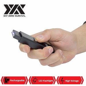 DZS Rechargeable Micro USB Self Defense Black Stun Gun With LED Light