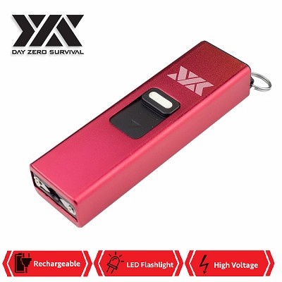 DZS Rechargeable Micro USB Self Defense Red Stun Gun With LED Light