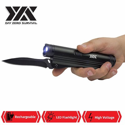 DZS 3 in 1 Multi Tool Rechargeable Stun Gun, FlashLight and Folding Knife