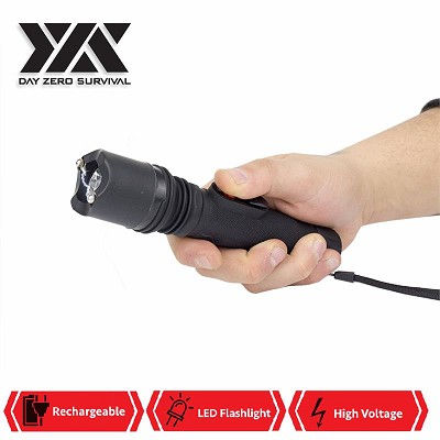 DZS Powerful 10 Million Volt LED Flashlight Stun Gun Rechargeable