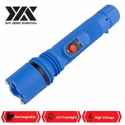 DZS Powerful 10 Million Volt LED Flashlight Stun Gun Rechargeable Blue