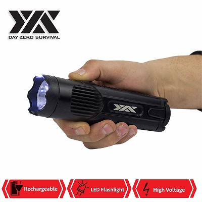 DZS Military Grade Aluminum Tactical High Power Stun Gun Flashlight 15M Volt