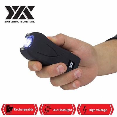 DZS Maximum Power Rechargeable Black Stun Gun With LED Flash Light