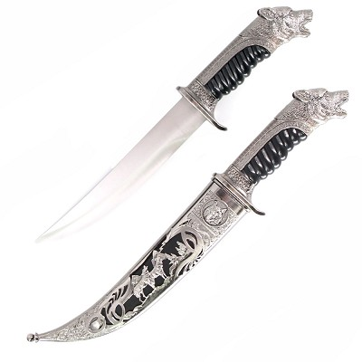 Antique Silver Wolf Collectors Dagger Fixed Blade Hunting Knife With Scabbard