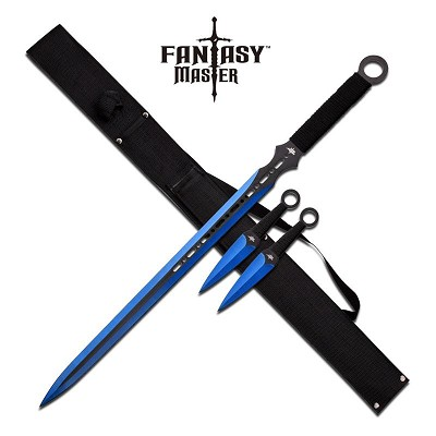 Blue Ninja Sword With Set Of 2 Kunai Throwing Knives Combo Set With Back Belt Sheath