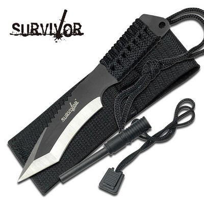 "7"" Full Tang Tanto Survival Knife With Sheath And Fire Starter"