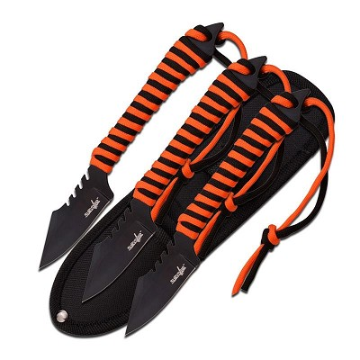 "Survivor 7.5"" 3 Fixed Blades with Orange and Black Paracord"