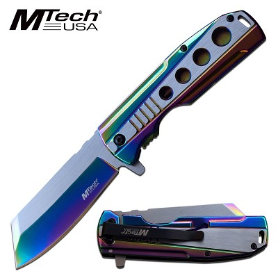 "Spring Assist Folding Knife MTech Stainless Steel Rainbow 3.75"" Blade Tactical"
