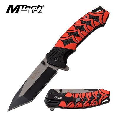 "3.5"" Black Tanto Blade Red Katana Handle Tactical Spring Assist Knife"