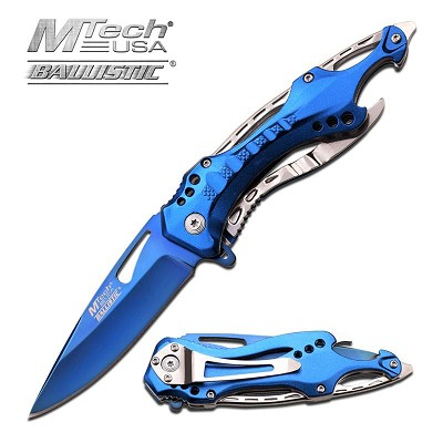 Pocket Knife With Screwdriver: 3.55 Inches Blade Length, Blue Ti-Coated Blade