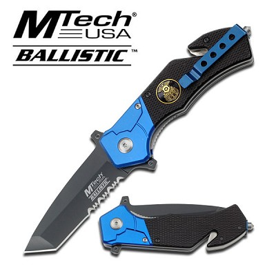 "3"" Tanto Blade Serrated Blue Black Police Rescue Folder Spring Assist Knife"