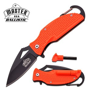 Ballistic Orange Handle Rescue Spring Assist Knife with Carabiner & Fire Starter