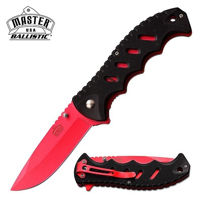 "4.75"" Black Red Blade Classic Utility Worker EDC Spring Assist Knife"