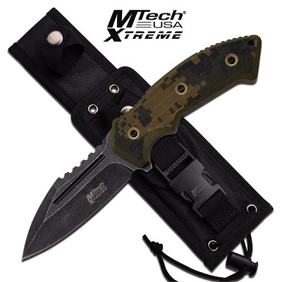 M-Tech Xtreme Scout Master Camo G-10 Fixed Blade Knife - Black Stonewash