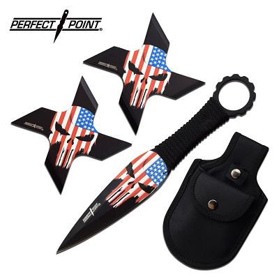Punisher Throwing Knives and Ninja Star Shuriken USA Flag Set