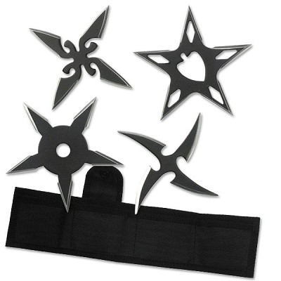 "4 Pc Black Stainless Steel Assorted Design Throwing Star Set - 2.5"" Diameter"