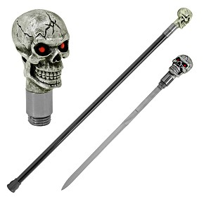 Dark Resurrection Skull Head Walking Cane Sword
