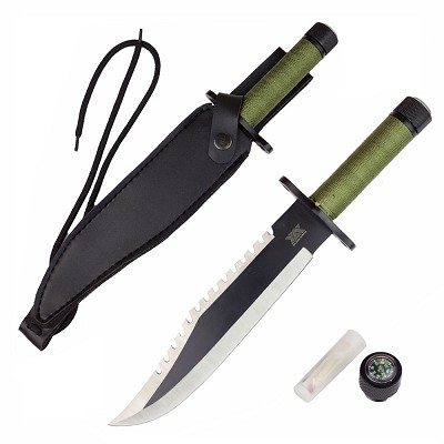 Rambo Style Full Size Survival Hunting Knife With Sheath