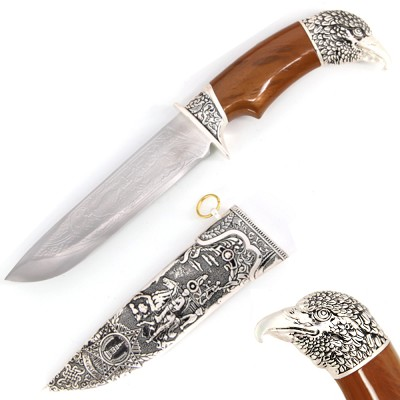 Royal Hunter Eagle Head Dagger Fixed Blade Hunting Knife With Scabbard