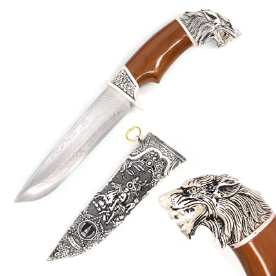 Mountain Wolf Head Dagger Fixed Blade Hunting Knife With Scabbard