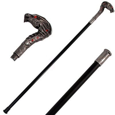 "37"" Dragon Wild Fighting Walking Cane Staff Steel Shaft Stick"