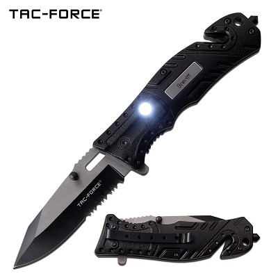 "Tac-Force 7.75"" Sheriff Spring Assisted Folding Knife With Flashlight"