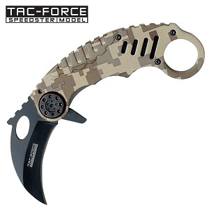 Tac Force Desert Camo Karambit Spring Assisted Folding Knife