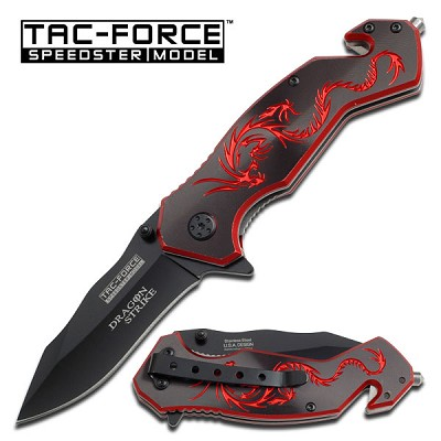Black and Red Dragon Strike Spring Assisted Rescue Folding Knife
