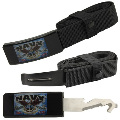 Navy Adjustable Nylon Covert Belt Knife Self Defense Hidden Blade