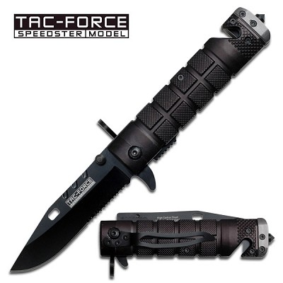M9 Bayonet Style Rescue Spring Assisted Folding Knife Black Grey Handle