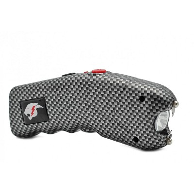 Carbon Fiber Print Cyclone Rechargeable Stun Gun w/ LED Light + Alarm