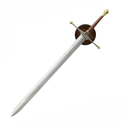 "51"" Medieval Excalibur Ancestral Replica Sword With Display Wall Plaque"